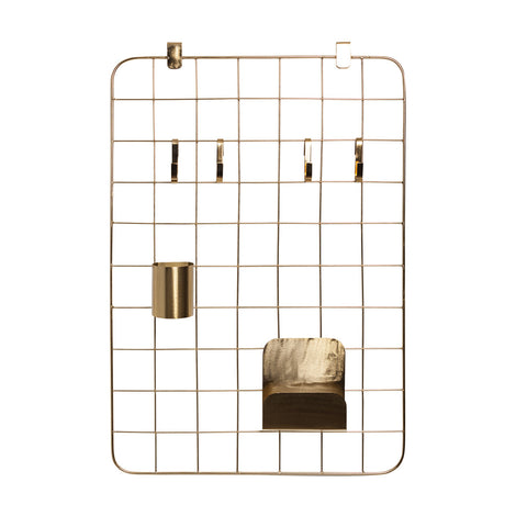 brass grid pin organizer monochrome minimal office set