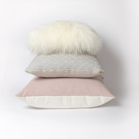 Mongolian Sheepskin Cushion | White