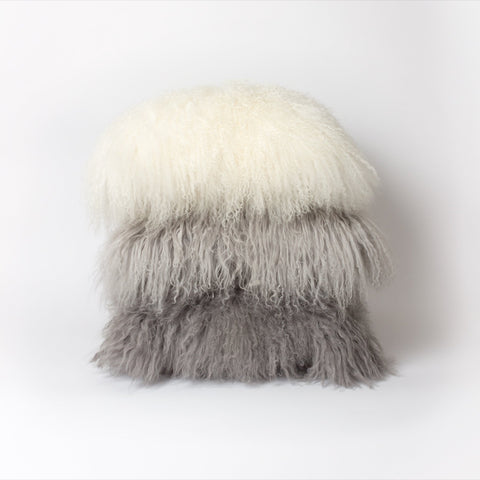 Mongolian Sheepskin Cushion | Light Grey