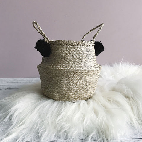Pom Pom Seagrass Belly Basket Black natural woven basket