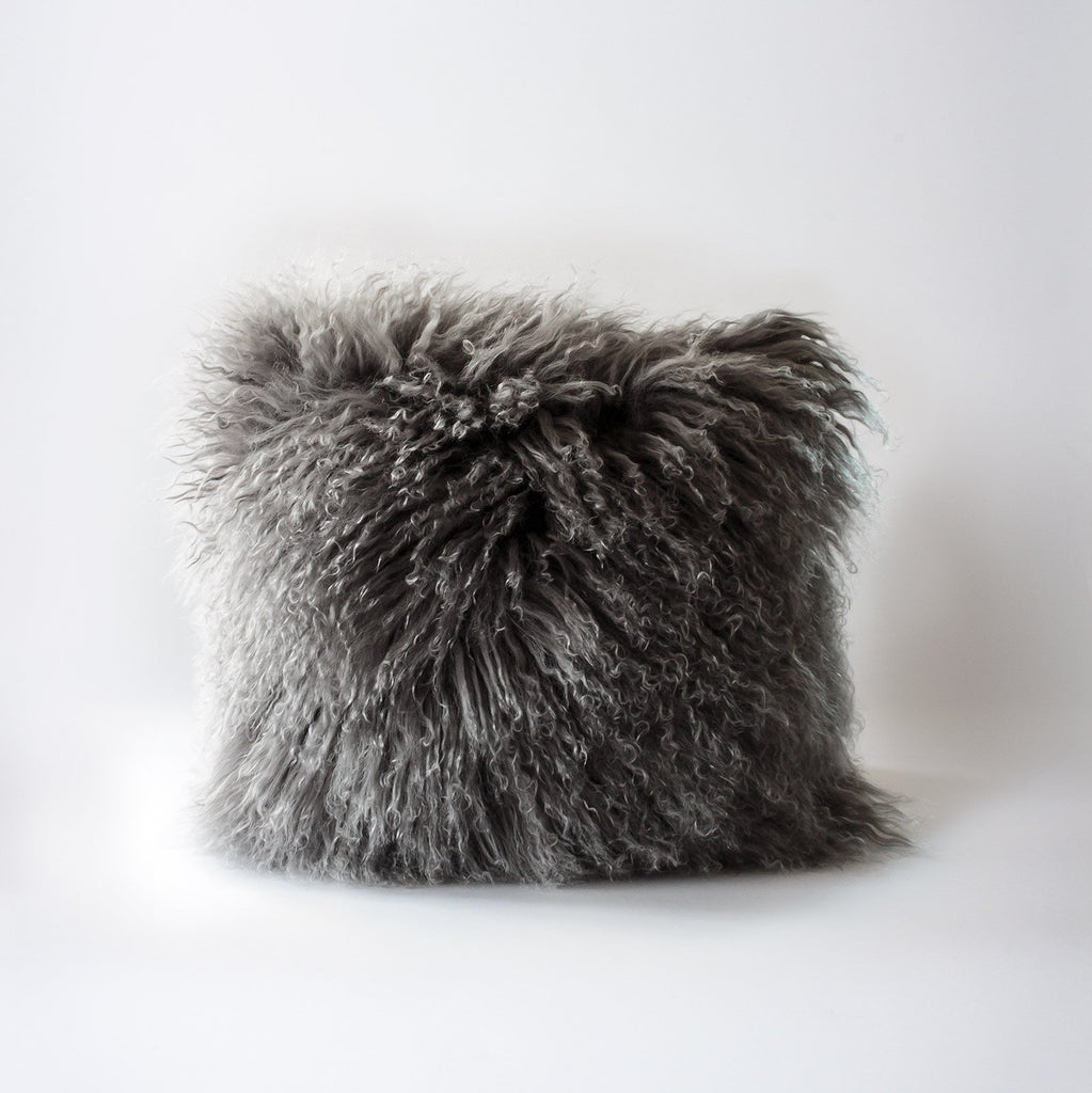 ilka home hides-of excellence-Mongolian grey wool cushion