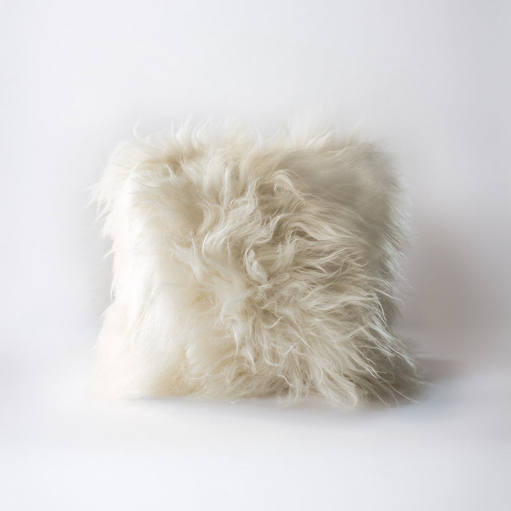 ilka home hides of excellence-Icelandic white sheep wool cushion