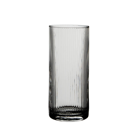 Huck High Tumbler Rippled Glassware Smoke