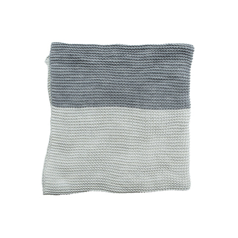 Split Chunky Knitted Throw Chalk/Dark Grey