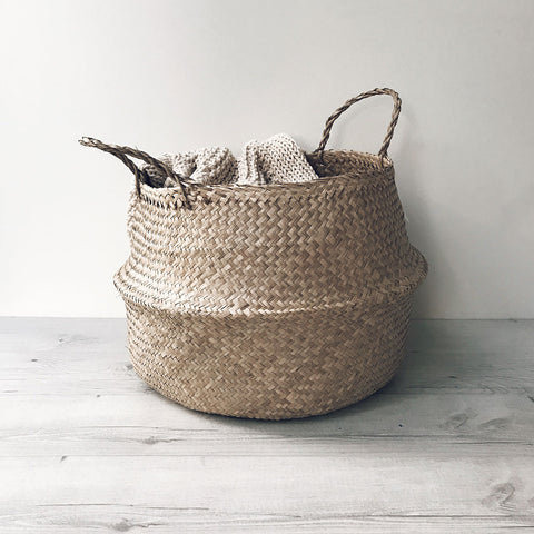 Seagrass Belly Basket Natural Storage Cane Baskets Woven