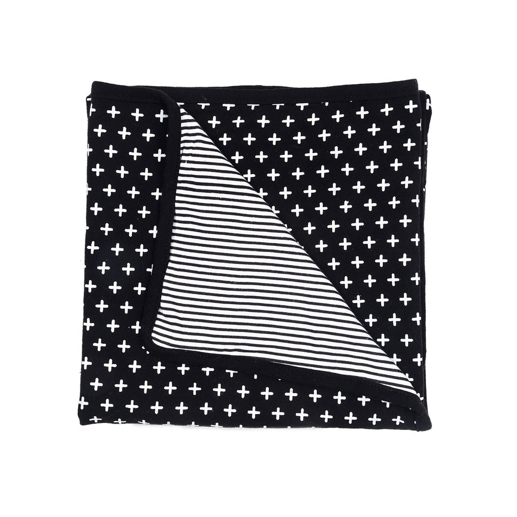 Cross + Stripes Baby Cot Blanket - Black + White - Reversible