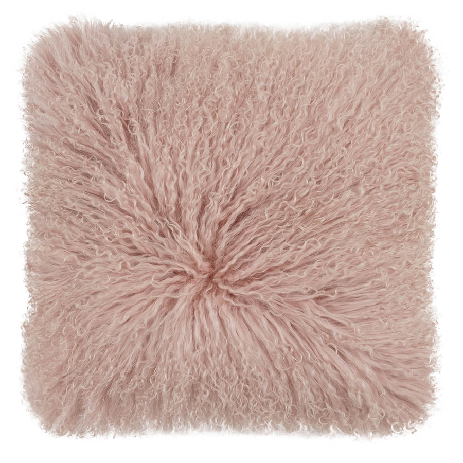 Mongolian Sheepskin Cushion | Rose Pink