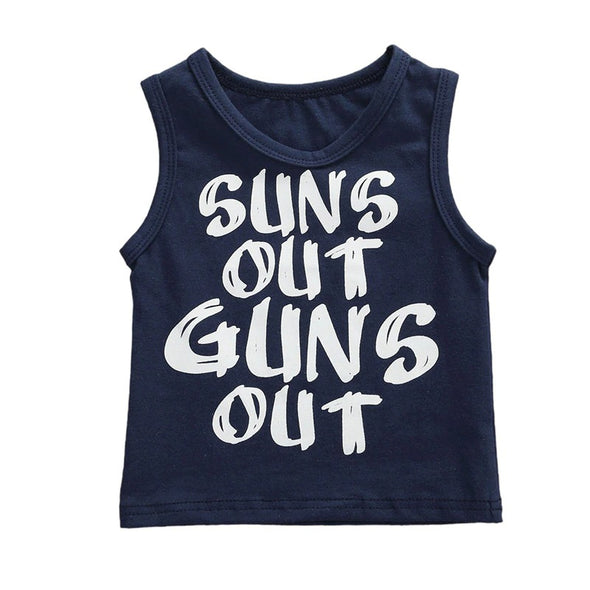 Suns Out Guns Out Tank Top - Navy