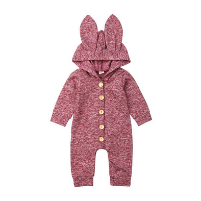 Jersey Knit Bunny Jumpsuit - Red - Urban Tots