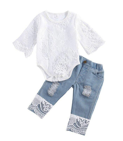 Lace Flare Denim Set - Urban Tots