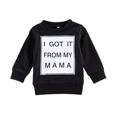 I Got It From My Mama Sweater - Black - Urban Tots