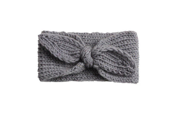 Knit Bow Head-wrap | Grey - Urban Tots