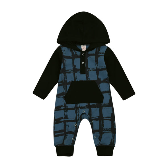 Hooded Plaid Jumpsuit - Teal