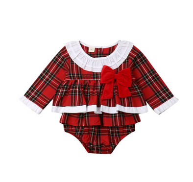 Christmas Eve Romper - Plaid - Urban Tots