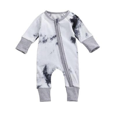 Zip-up Tie Dye Jumpsuit - Black - Urban Tots