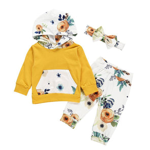 Floral Hoodie Set - Yellow - Urban Tots