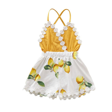 V-neck Lemon Romper - Urban Tots
