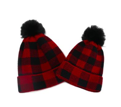 Matching Plaid Pom Pom Beanies