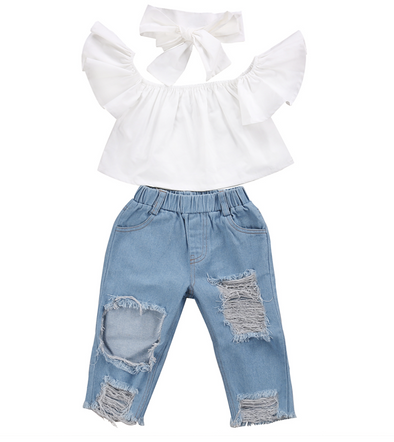 Lana Denim Set - White - Urban Tots