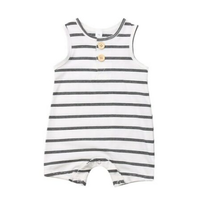 Stripe Jumpsuit - White with Grey - Urban Tots