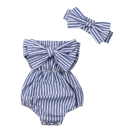 Little Miss Romper - Blue Stripe - Urban Tots