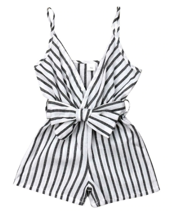 V-Neck Striped Romper - Urban Tots
