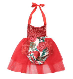 Christmas Poinsettia Romper - Red
