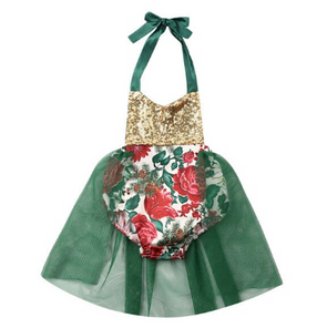 Christmas Poinsettia Romper - Green