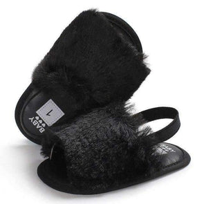 Fluffy Slides - Black - Urban Tots