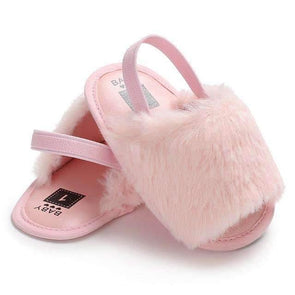 Fluffy Slides - Pink - Urban Tots