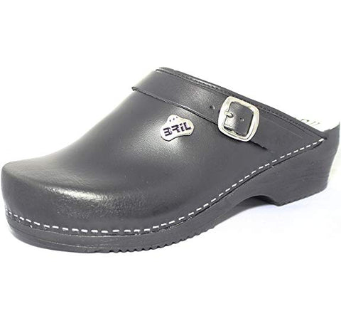 BRIL Mico Woman's Work Clogs, Black Leather
