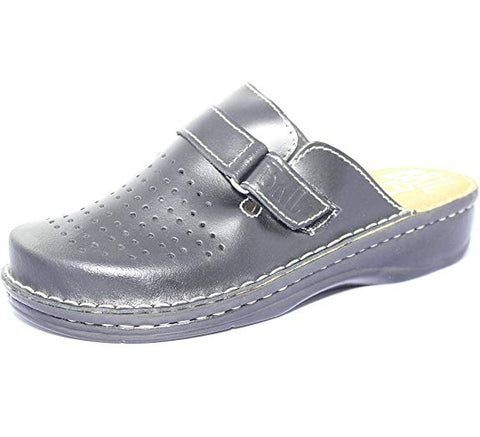 Taylor Woman's Work Clogs, Black Leather
