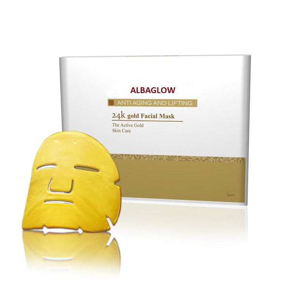 ALBAGLOW - 24K Gold Collagen Face Mask for Anti Aging