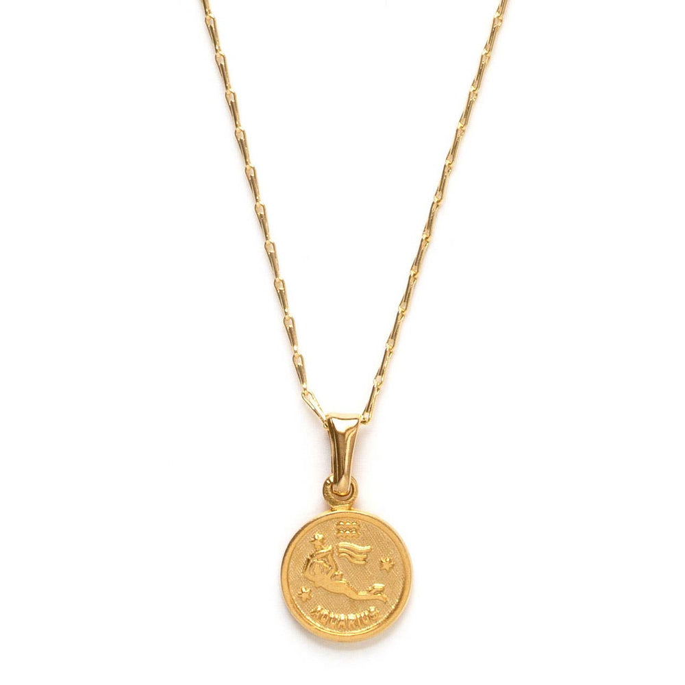 Load image into Gallery viewer, tiny zodiac aquarius gold necklace