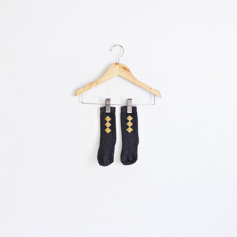 black + gold diamond socks