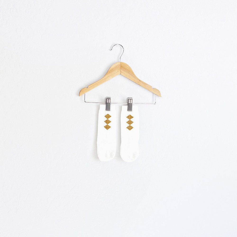 Load image into Gallery viewer, white + gold diamond socks