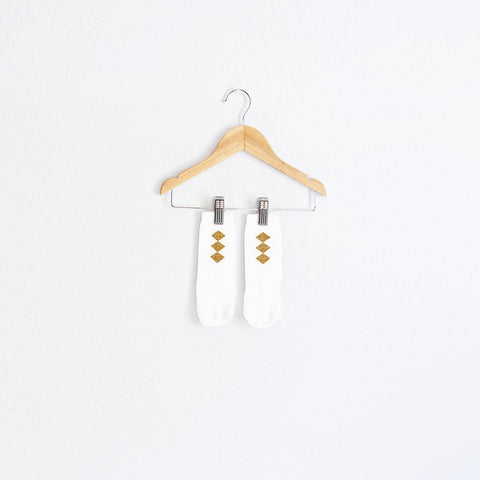 white + gold diamond socks