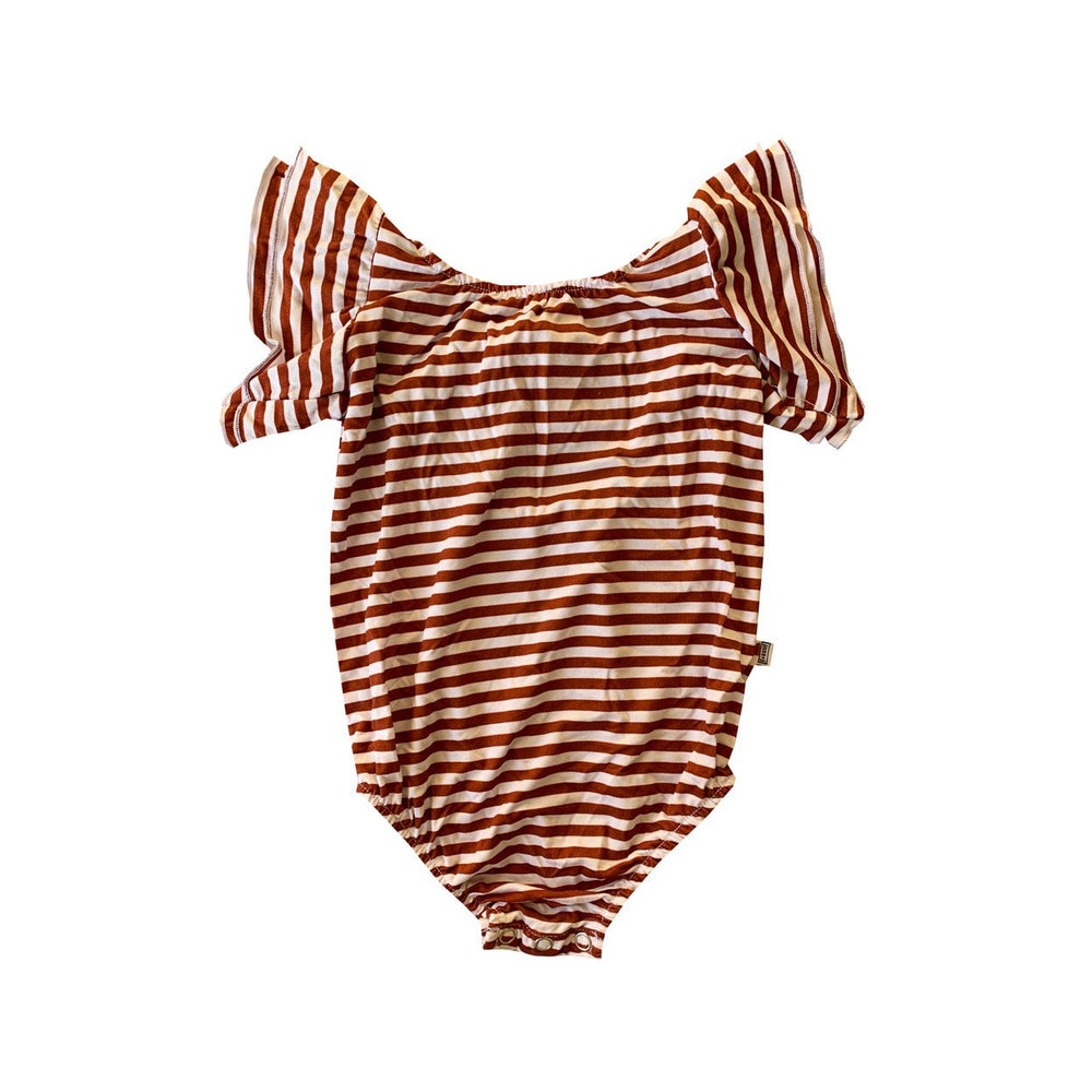 autumn stripes bamboo flutter sleeve leotard