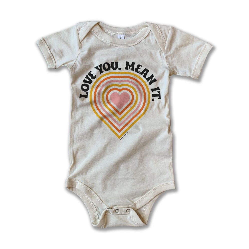 love you mean it vintage onesie