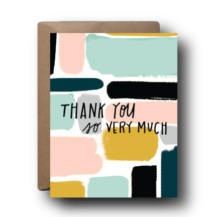 painted blocks thank you greeting card
