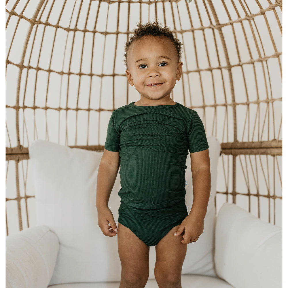 Load image into Gallery viewer, emerald ribbed bamboo track tee + shorts set