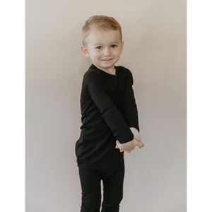 Load image into Gallery viewer, midnight black ribbed bamboo long sleeve + pants set