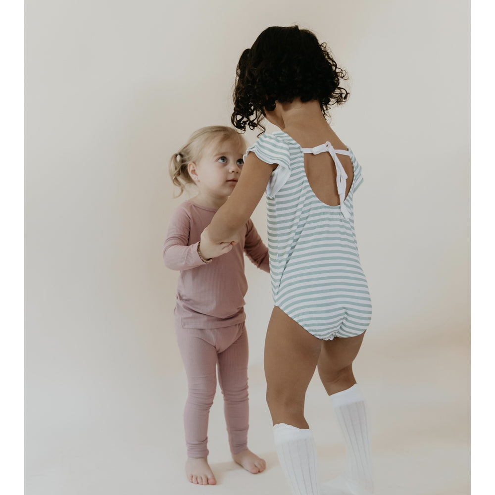 Load image into Gallery viewer, sage stripes bamboo flutter sleeve leotard