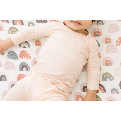 apricot ribbed bamboo long sleeve + pants set