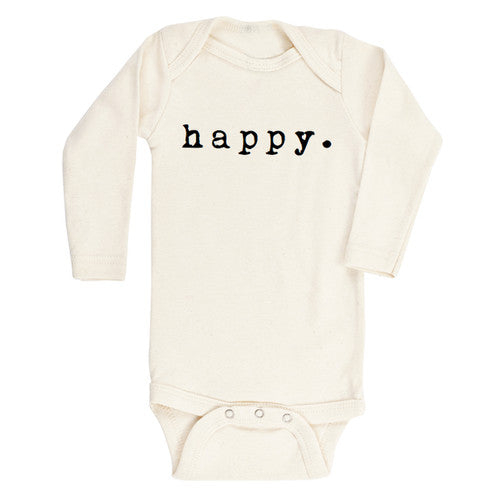 Load image into Gallery viewer, happy black + natural organic long sleeve onesie