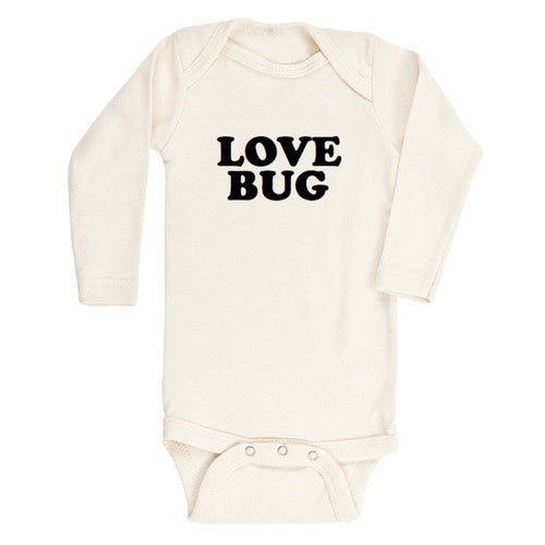 Load image into Gallery viewer, love bug black + natural organic long sleeve onesie