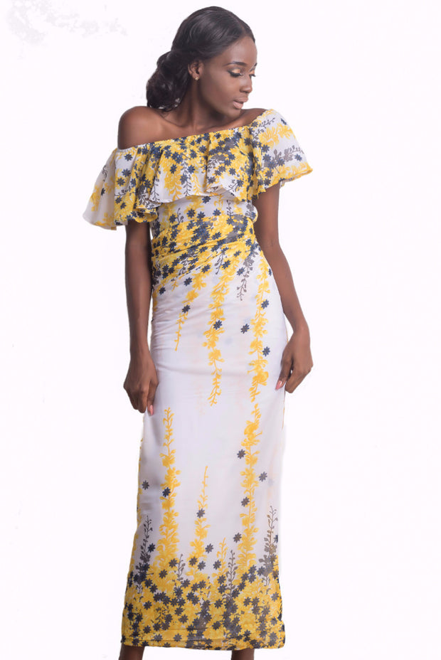 Meena Off-Shoulder Iro and Buba (Yellow)
