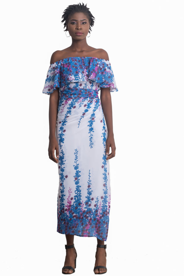 Meena Off-Shoulder Iro and Buba (Blue)