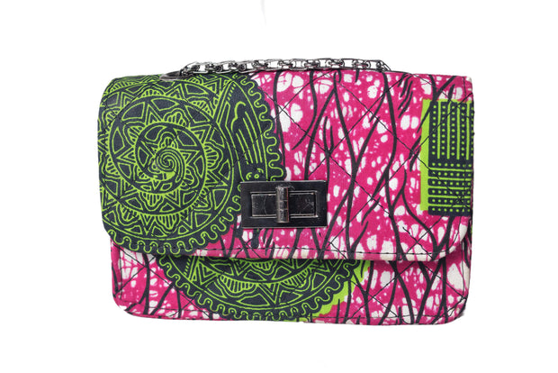 African Print Pink and Green Quilted Bag
