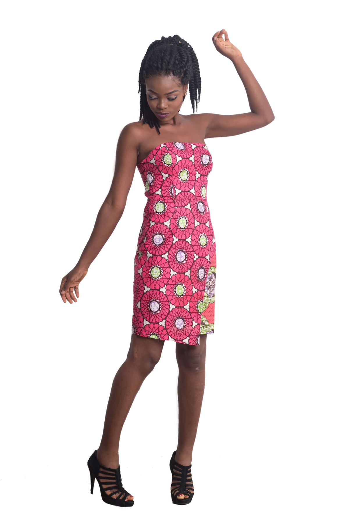 Ankarage women sisi eko ankara african print strapless asymmetrical wrap dress